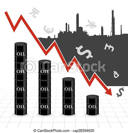 Crude Oil Price Fall Down Abstract Illustration With Downtrend Red