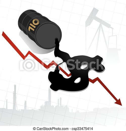 Crude oil price fall down abstract illustration with red leaked oil from barrel to earth with refinery plant - csp33475414