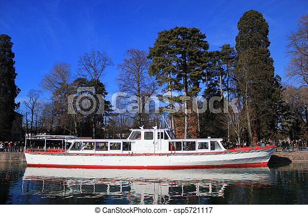 Cruise boat on Annecy lake, France - csp5721117