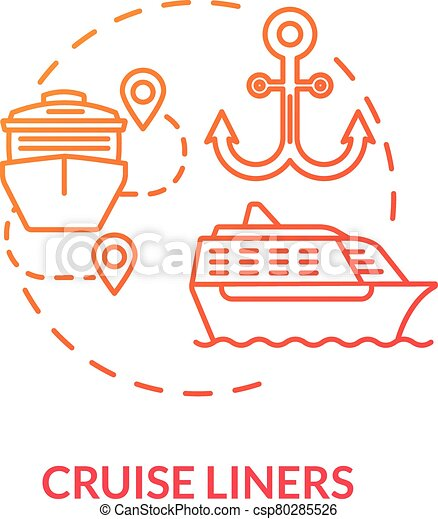 Cruise liners red concept icon. Marine tourism with passenger ship. Luxury trip with water vessel. Boat voyage idea thin line illustration. Vector isolated outline RGB color drawing - csp80285526