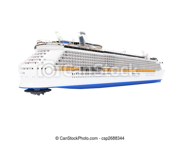 Cruise ship isolated back view - csp2688344