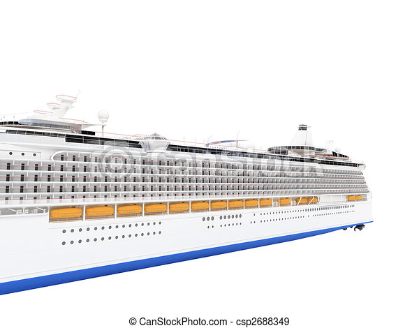 Cruise ship isolated back view - csp2688349