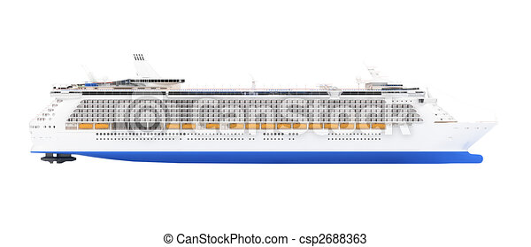 Cruise Ship Isolated Side View Isolated Cruiser Over White - Cruise ship drawings
