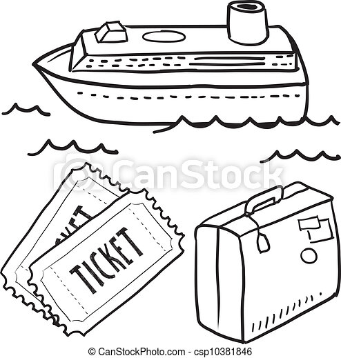 Cruise ship objects sketch - csp10381846