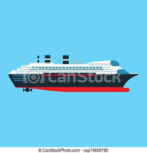 Cruise ship side view vector flat icon. Ocean boat travel journey transport. Sea luxury blue vessel vacation. Summer large liner cartoon - csp74658780