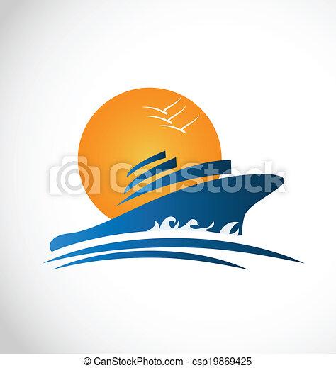 Cruise ship sun and waves logo - csp19869425