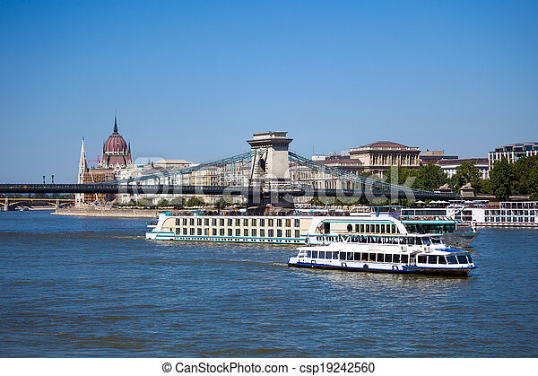 Cruise ships on Danube river in Budapest - csp19242560