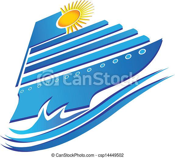 Cruise sun and waves logo vector - csp14449502