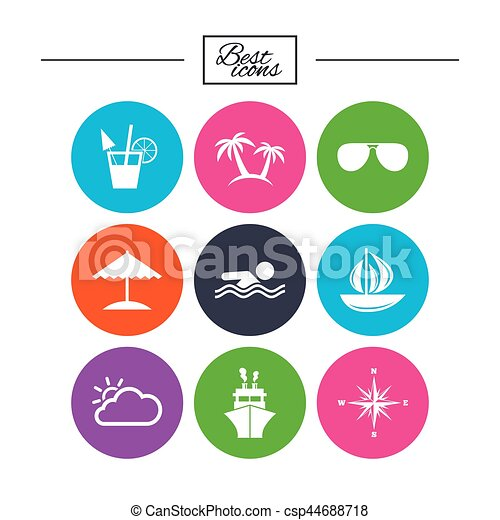 Cruise Trip Ship And Yacht Icons Travel Signs Cruise Trip Ship