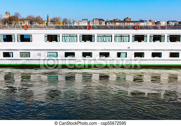 cruise vessel on the Rhine in Cologne - csp55672595