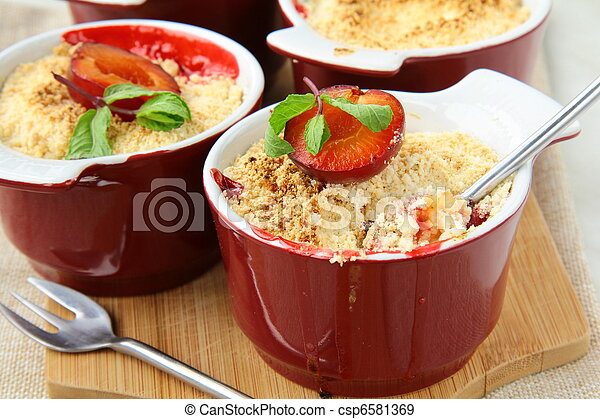 crumble plum dessert with mint - csp6581369