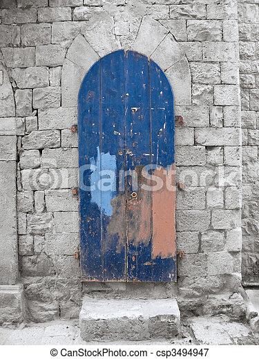 Crumbling Blue Frontdoor. - csp3494947