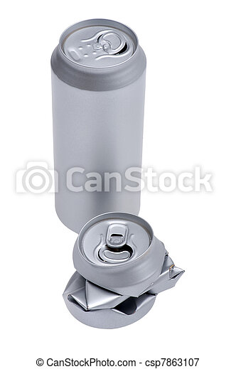 Crumpled beverage can isolated on white - csp7863107