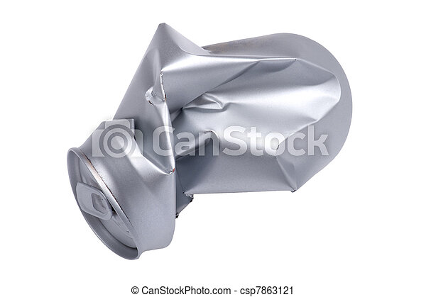 Crumpled beverage can isolated - csp7863121