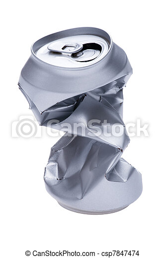 Crumpled beverage can on white - csp7847474