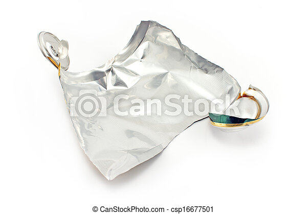 Crumpled can on white background - csp16677501