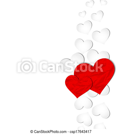 Crumpled paper hearts for Valentine's day - csp17643417