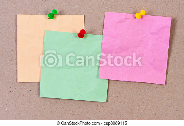 Crumpled sticky notes attached thumbtack. - csp8089115