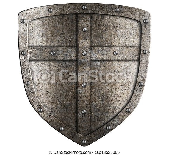 crusader metal shield illustration isolated on white - csp13525005