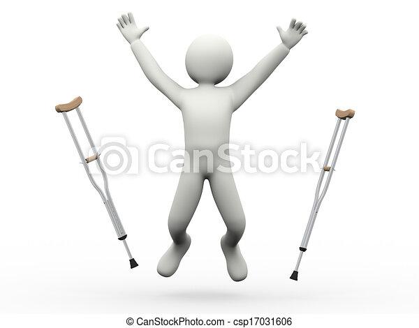 crutches, бросание, 3d, прыжки, человек, счастливый - csp17031606