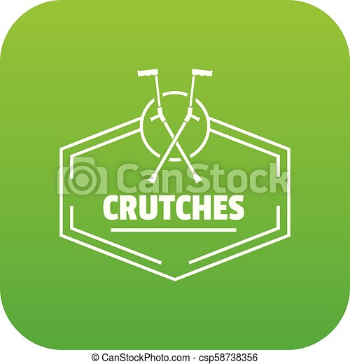 crutches, vettore, verde, icona - csp58738356