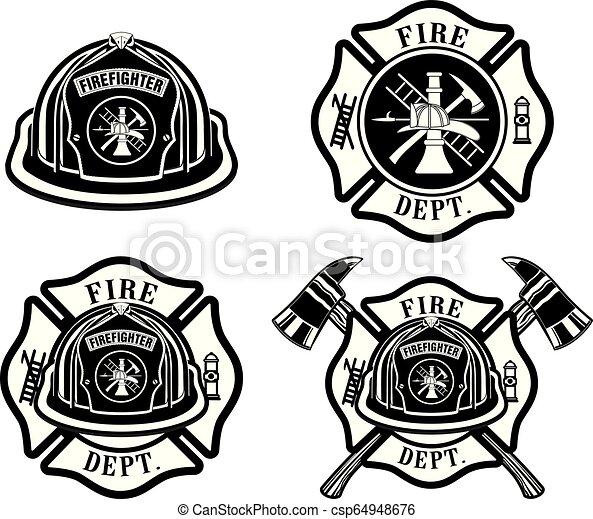 Diseños del departamento de bomberos - csp64948676
