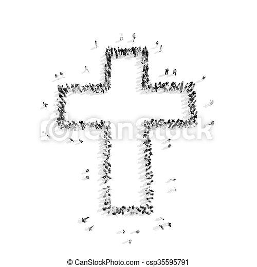 Cruz católica, religión, forma, gente. Católico, mob.3d, grupo ...