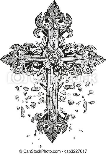 cruz, ilustración, clásico - csp3227617