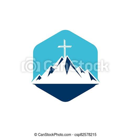 cruz, montaña, bautista, design., logotipo - csp82578215