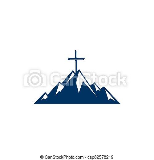 cruz, montaña, bautista, design., logotipo - csp82578219
