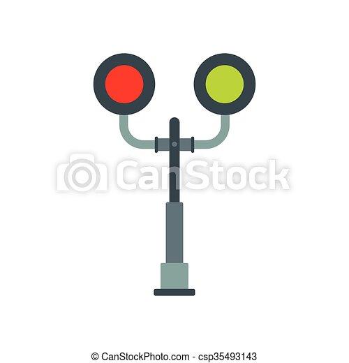 cruzamento, luz, estrada ferro, ícone - csp35493143