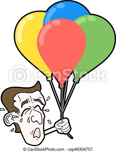 cry face with color balloons - csp46304707