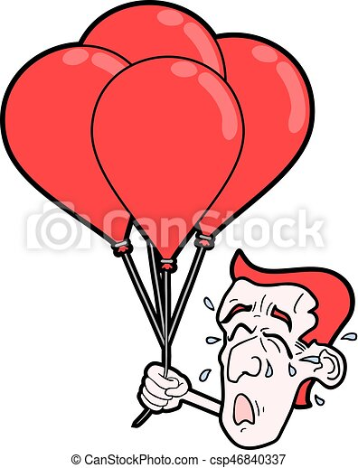 cry face with red balloons - csp46840337