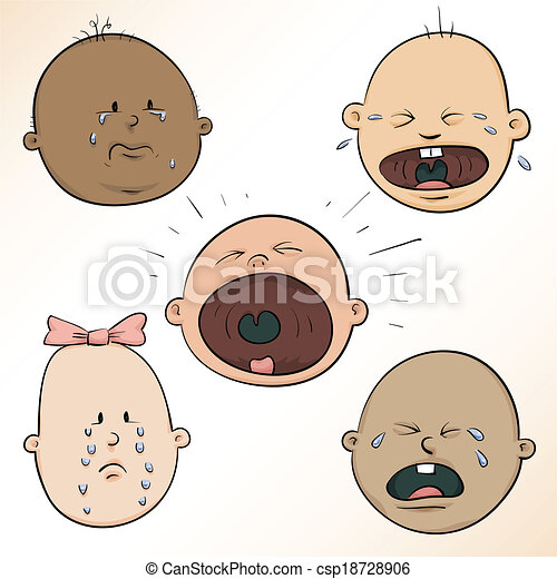 crying baby faces a diverse set of a variety of crying cartoon
