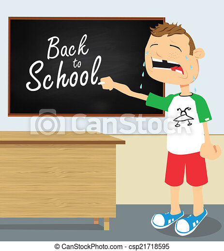 Crying boy in school - csp21718595