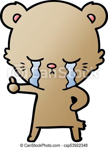 crying cartoon bear giving thumbs up - csp53922348