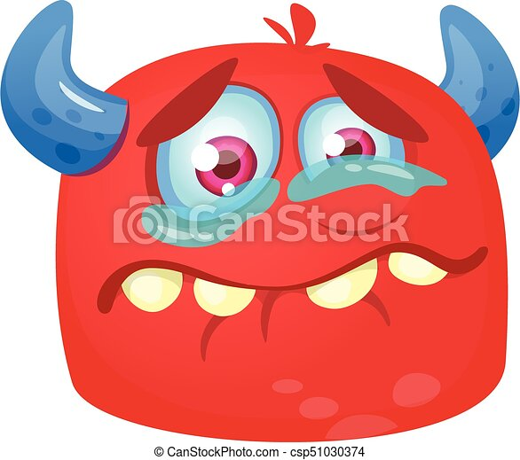 Crying cartoon monster icon. Halloween vector red and horned monster alien sad expression. Design for emblem or sticker - csp51030374
