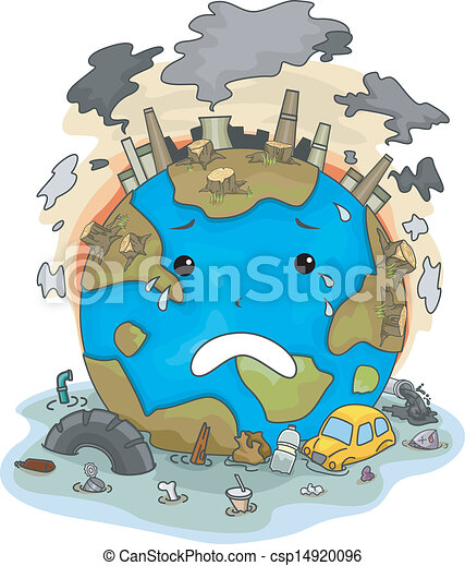 Crying earth due to pollution illustration of crying earth