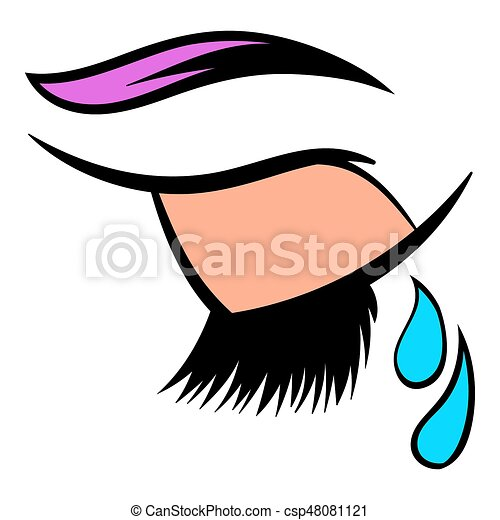 crying eye icon icon cartoon crying closed eye icon in clip art rh canstockphoto com