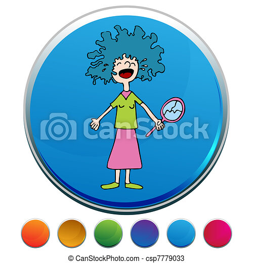 Crying Girl With Bad Perm Button Set - csp7779033