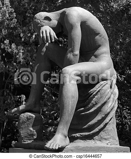 crying man statue  as tombstone on monumental cemetery of Staglieno - csp16444657
