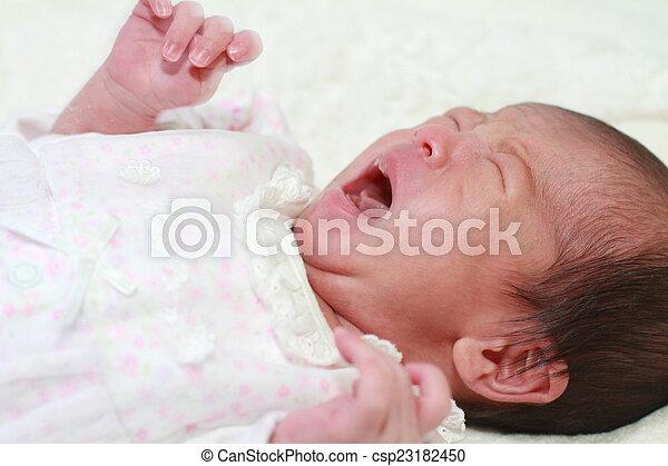 Crying newborn baby japanese baby girl