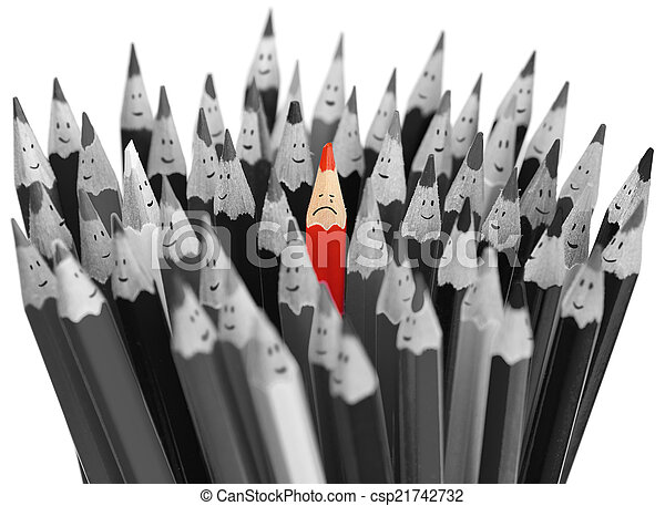 Crying red pencil among crowd of happy pencils - csp21742732