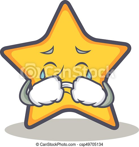 Crying Star Character Cartoon Style
