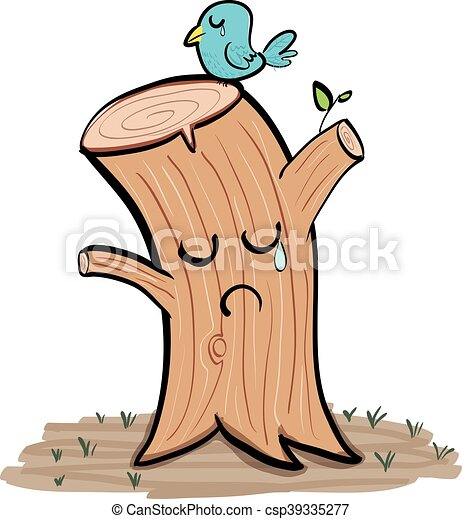 cartoon crying tree stump and crying bird vectors illustration rh canstockphoto com tree stump clipart black and white tree stump clipart images