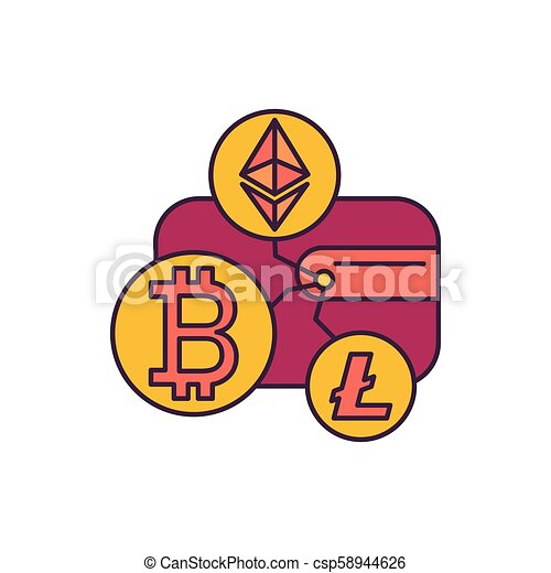 Crypto Wallet Icon Cartoon Style