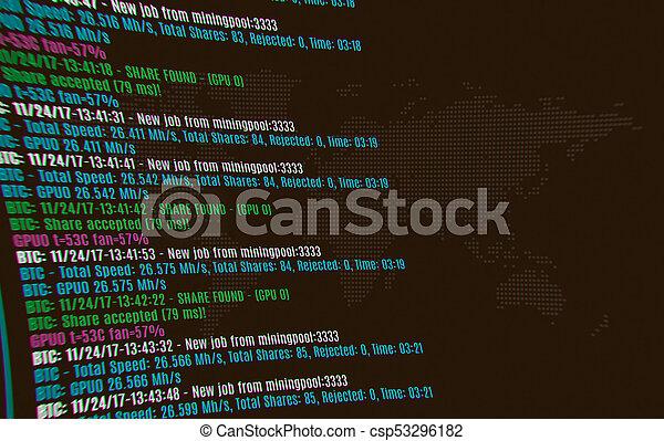cryptocurrency, arrière-plan., exploitation minière, bitcoin - csp53296182