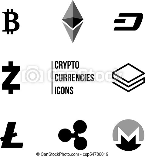 Cryptocurrency blockchain icons, Set of virtual currencies icons, bitcoin, ripple, litecoin, ethereum, trading and exchange concept, - csp54786019