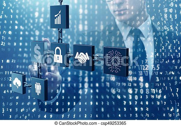 cryptocurrency, homem negócios, conceito, blockchain - csp49253365