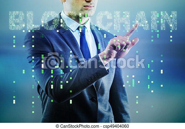 cryptocurrency, homem negócios, conceito, blockchain - csp49404060